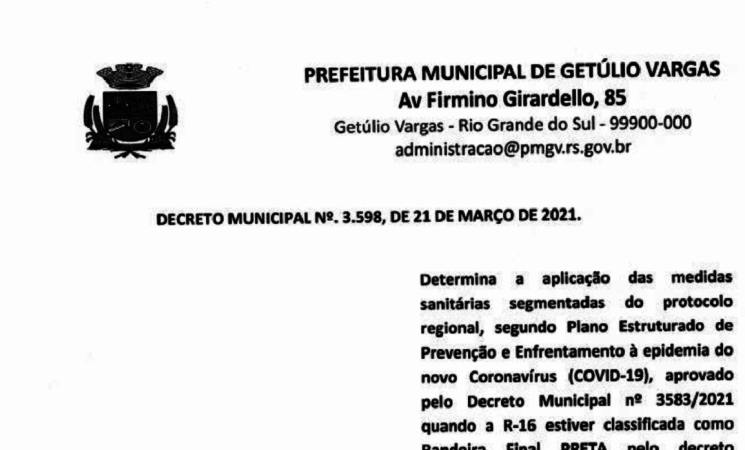 Decreto Municipal 3598 de 21 de março de 2021 - COVID-19