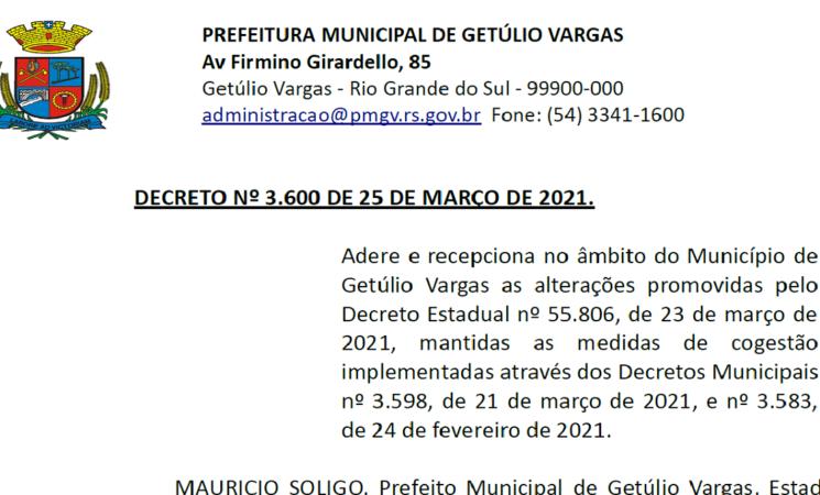 Decreto Municipal 3.600 alterações 23 de março de 2021