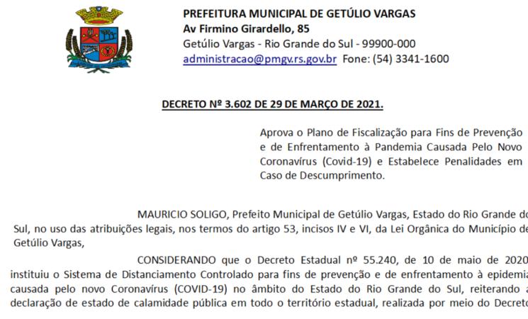 Decreto 3.602 de 29 de março 2021 - Aprova Plano Fiscalização Covid