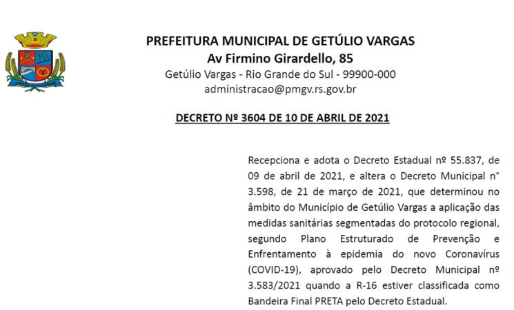 DECRETO Nº 3604 DE 10 DE ABRIL DE 2021 - COVID-19