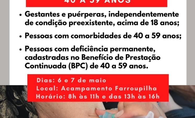 Getúlio Vargas estende vacinação de pessoas com comorbidades e beneficiários do BPC a partir de 40 anos iniciando nesta quarta-feira