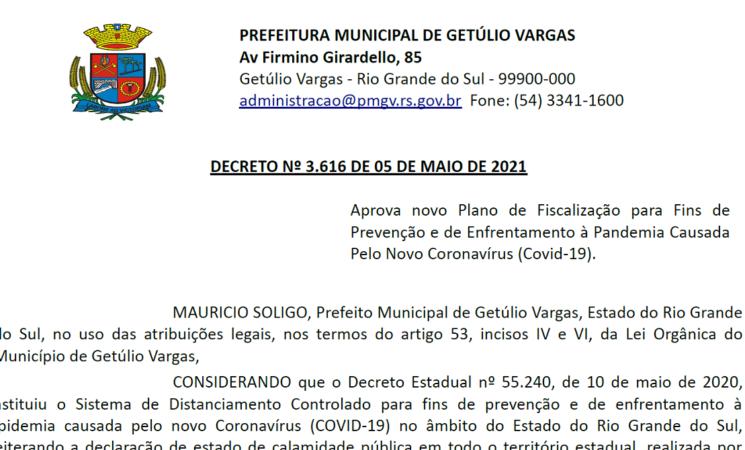 Decreto 3616 Aprova Novo Plano Fiscalização Covid-19