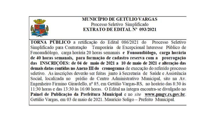EDITAL 093/2021 -Retifica o Edital 086-2021 do Processo Seletivo -  Fonoaudiólogo