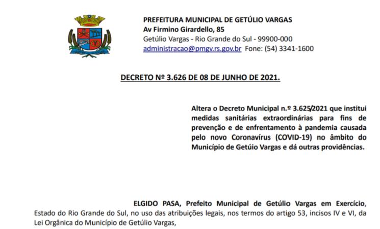 Decreto Municipal 3.626 Alterações Protocolos Covid 08-06-2021