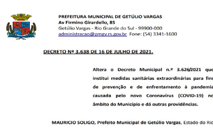 Decreto Municipal 3.638 de 16 de julho de 21 alterações COVID