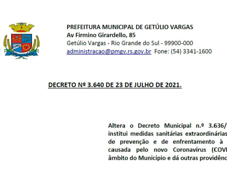 Decreto Municipal 3.640  COVID-19