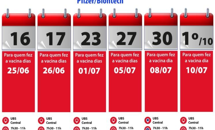 Agenda segundas dose vacina Pfizer/Biontech