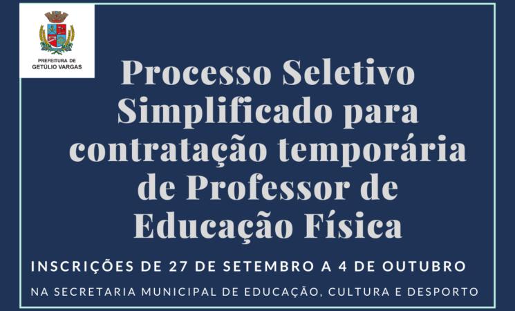 Prefeitura de Getúlio Vargas abre Processo Seletivo Simplificado para contratação temporária de Professor de Educação Física