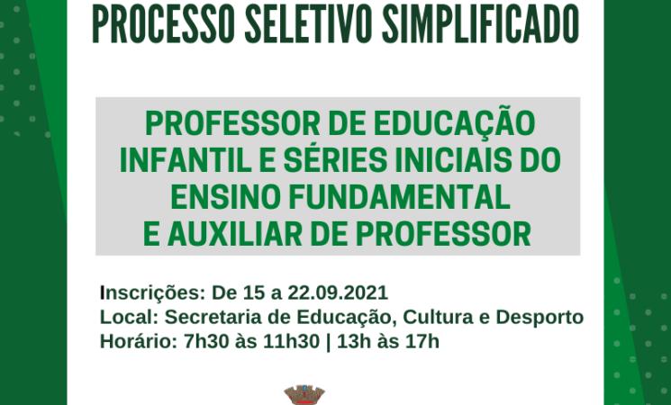 Prefeitura de Getúlio Vargas realiza Processo Seletivo Simplificado para contratação de professores e auxiliares