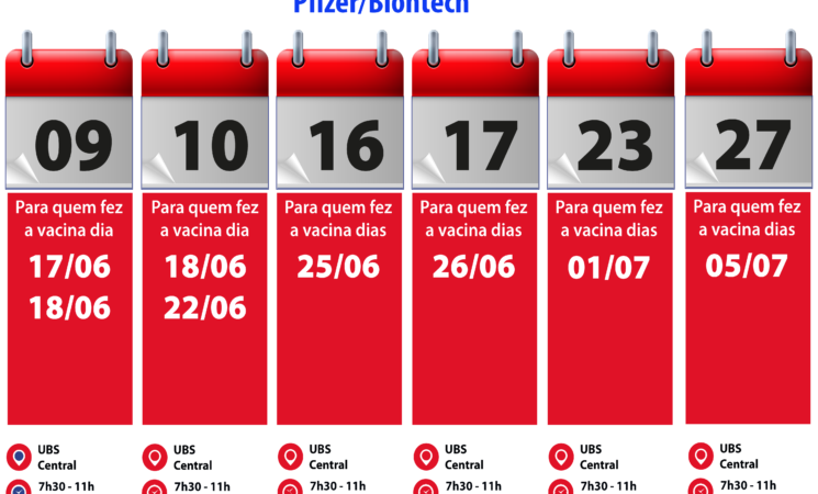 Cronograma das vacinas contra Covid-19 para o mês de setembro