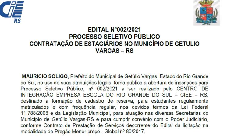 PROCESSO SELETIVO-CONTRATAÇÃO DE ESTAGIÁRIOS NO MUNICÍPIO DE GETULIO