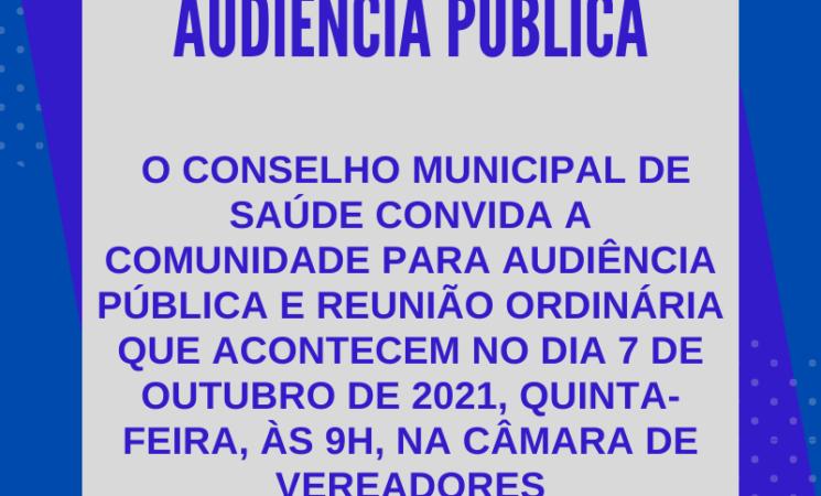 Conselho Municipal de Saúde convida para Audiência Pública de apresentação do Monitoramento da Gestão em Saúde