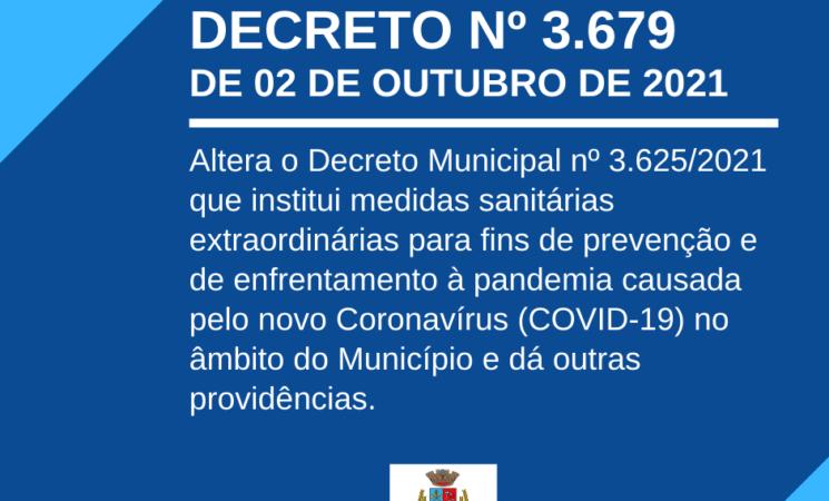 Município emite novo decreto para fins de prevenção e enfrentamento à Covid-19