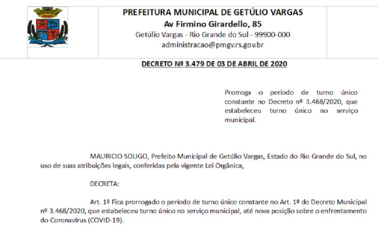 Decreto 3479 Prorroga o período de turno único