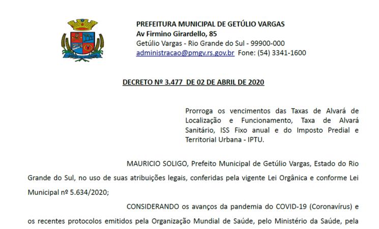 DECRETO 3477 prorroga vencimento IPTU ALVARÁ