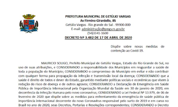 Novo decreto do Governo Municipal permite a bertura do comércio em Getúlio Vargas - Decreto 3482 COVID