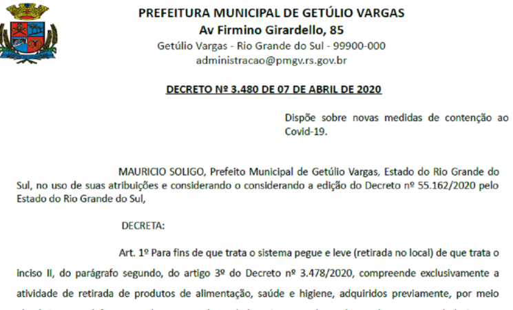 Decreto 3480 Dispõe sobre novas medidas de contenção ao Covid-19