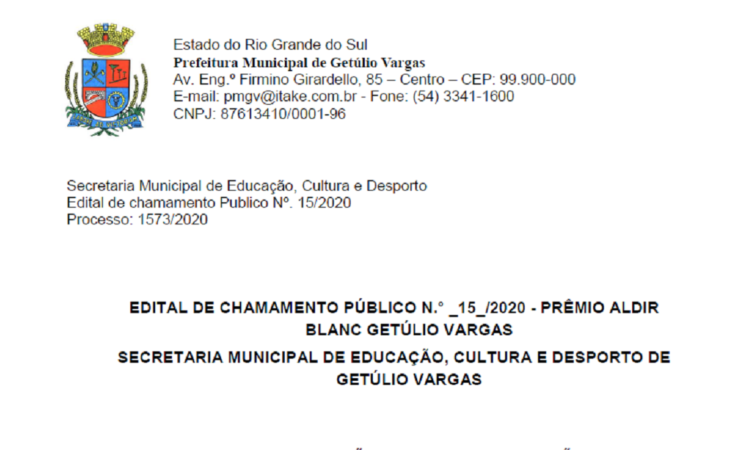 CHAMAMENTO PÚBLICO 15/2020 - PRÊMIO ALDIR BLANC GETÚLIO VARGAS