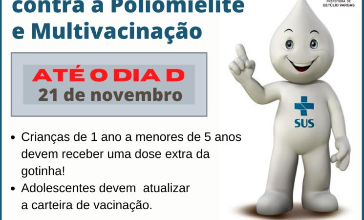 Prorrogada a Campanha de Vacinação contra a Poliomielite e Multivacinação