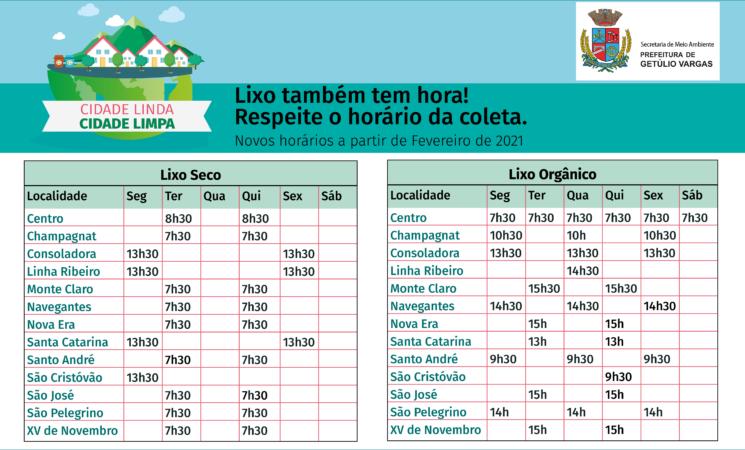Atenção para os novos dias e horários de recolhimento de lixo na cidade e nos Distritos de Souza Ramos e Rio Toldo