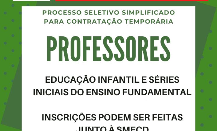 Prorrogadas as inscrições do Processo Seletivo Simplificado para contratação de Professores de Educação Infantil e Séries Iniciais