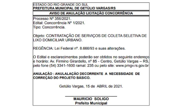 AVISO DE ANULAÇÃO TOMADA DE PREÇO - COLETA DE LIXO URBANO