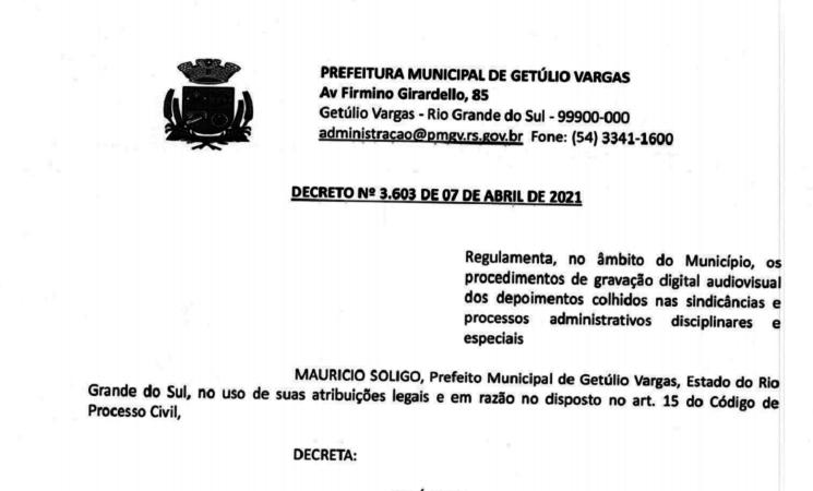 Decreto 3603 Regulamenta procedimento de gravação digital audiovisual