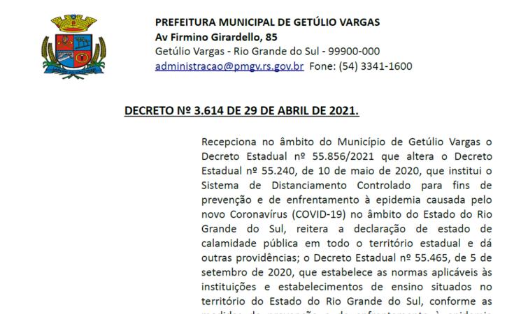 Decreto 3.614 BANDEIRA VERMELHA de 29 abril 2021