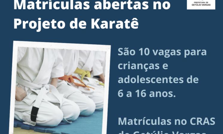 CRAS de Getúlio Vargas está com matrículas abertas no Projeto de Karatê