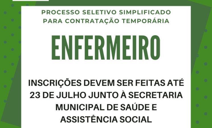Prefeitura de Getúlio Vargas realiza Processo Seletivo para Enfermeiro
