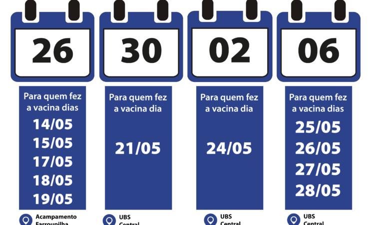 Adiantas as datas da 2ª Dose da Vacina AstraZeneca