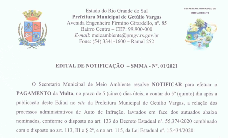 EDITAL DE NOTIFICAÇÃO - SMMA 01-2021